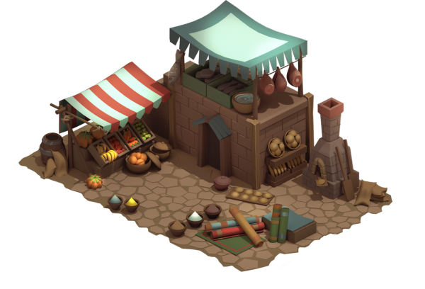 Market Medieval isometric building