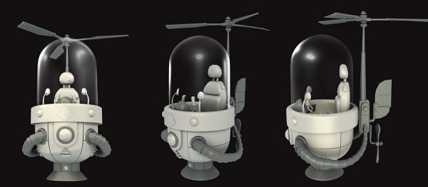 Cartoon helicopter aircraft
